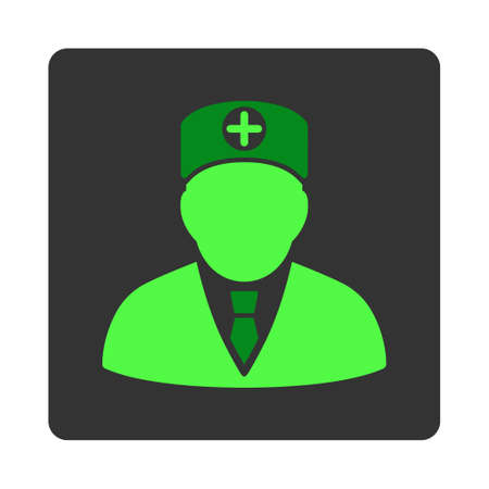 physician: Head Physician vector icon. Style is flat rounded square dark gray button, green symbol, white background.