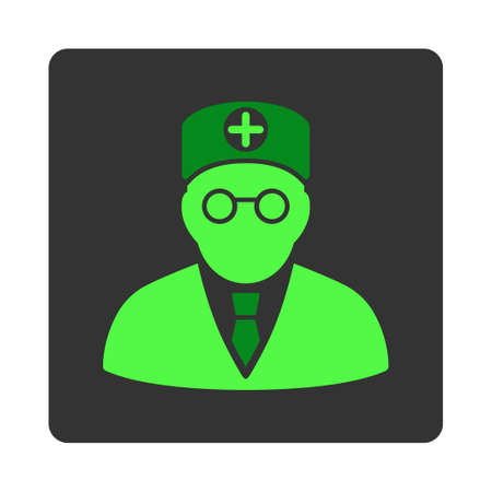 dark gray: Head Physician vector icon. Style is flat rounded square dark gray button, green symbol, white background.