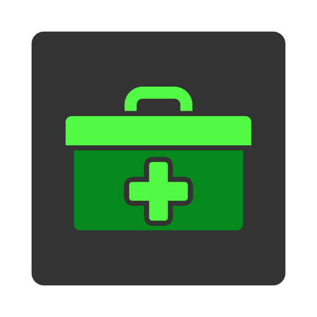dark gray: First Aid Toolbox vector icon. Style is flat rounded square dark gray button, green symbol, white background. Illustration