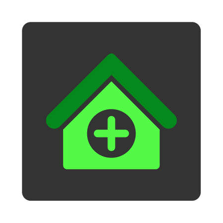 dark gray: Hospital vector icon. Style is flat rounded square dark gray button, green symbol, white background. Illustration