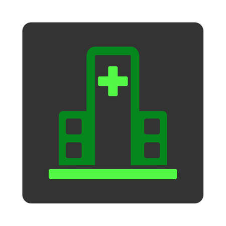 dark gray: Hospital Building vector icon. Style is flat rounded square dark gray button, green symbol, white background.