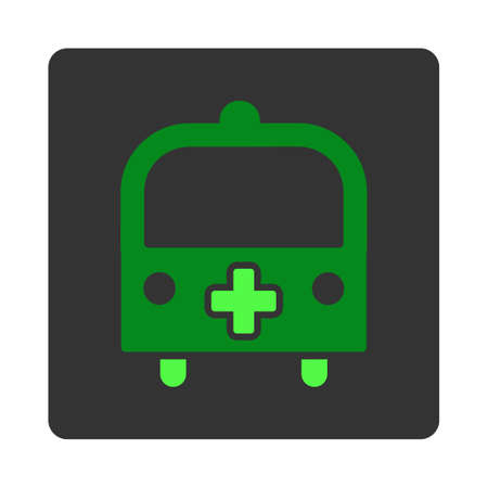dark gray: Medical Bus vector icon. Style is flat rounded square dark gray button, green symbol, white background.