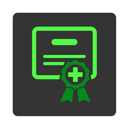 assertion: Medical Certificate vector icon. Style is flat rounded square dark gray button, green symbol, white background.