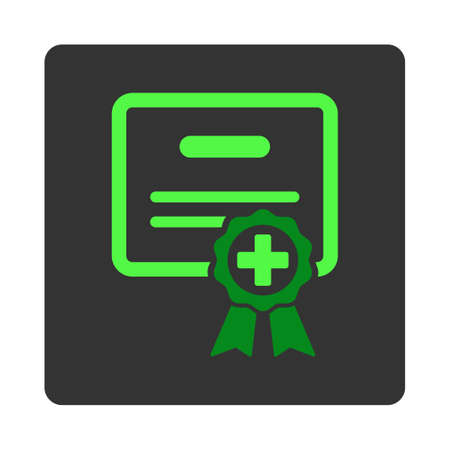 assertion: Medical Diploma vector icon. Style is flat rounded square dark gray button, green symbol, white background.