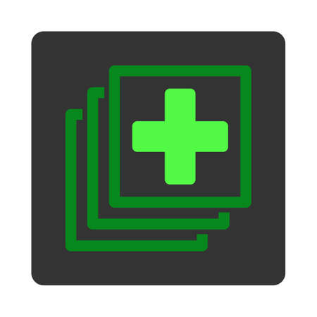 docs: Medical Docs vector icon. Style is flat rounded square dark gray button, green symbol, white background.
