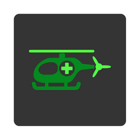dark gray: Medical Chopper vector icon. Style is flat rounded square dark gray button, green symbol, white background. Illustration