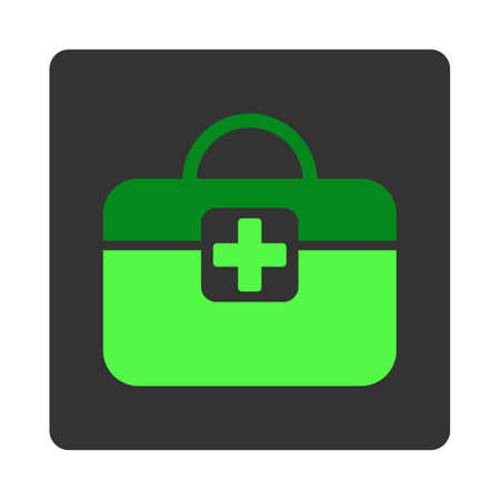 dark gray: Medical Kit vector icon. Style is flat rounded square dark gray button, green symbol, white background. Illustration