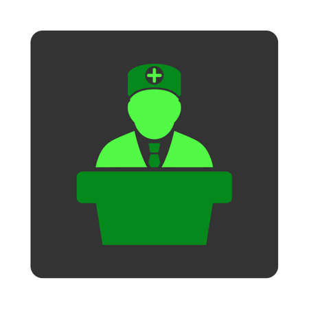 dark gray: Medical Official Report vector icon. Style is flat rounded square dark gray button, green symbol, white background.