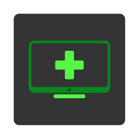 dark gray: Medical Monitor vector icon. Style is flat rounded square dark gray button, green symbol, white background.