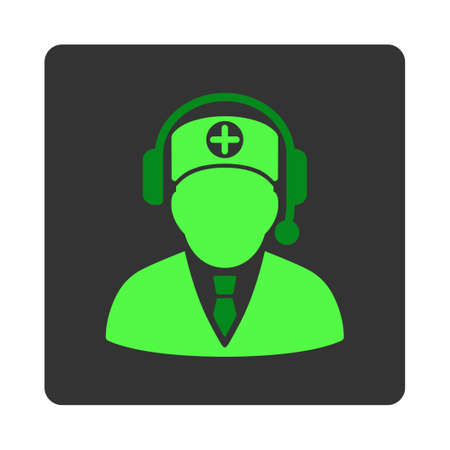 dark gray: Medical Operator vector icon. Style is flat rounded square dark gray button, green symbol, white background. Illustration