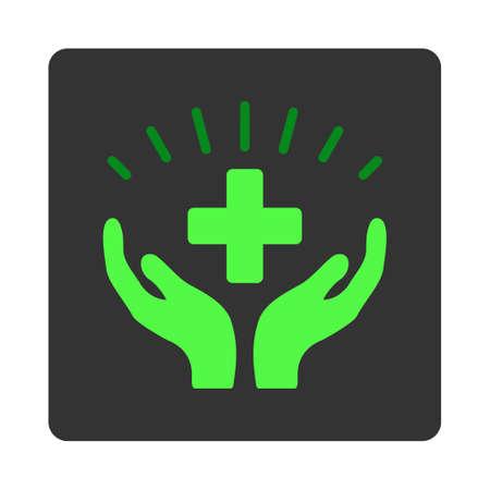 prosperidad: Médico del vector del icono de la prosperidad. El estilo es el botón plano cuadrado redondeado de color gris oscuro, símbolo verde, fondo blanco.