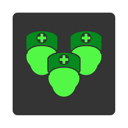 dark gray: Medical Staff vector icon. Style is flat rounded square dark gray button, green symbol, white background.