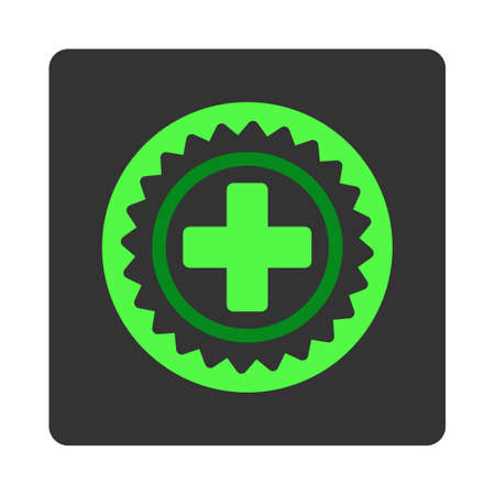 dark gray: Medical Stamp vector icon. Style is flat rounded square dark gray button, green symbol, white background. Illustration
