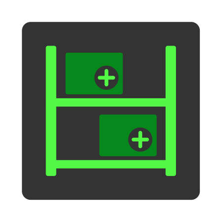 dark gray: Medical Warehouse vector icon. Style is flat rounded square dark gray button, green symbol, white background.