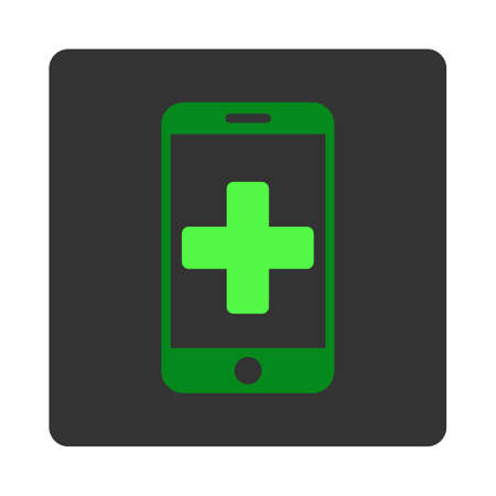 dark gray: Online Help vector icon. Style is flat rounded square dark gray button, green symbol, white background. Illustration