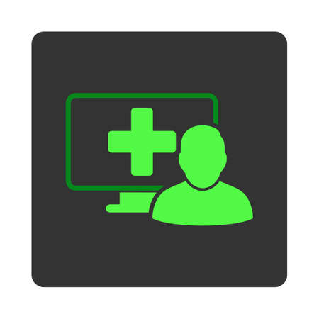 dark gray: Online Medicine vector icon. Style is flat rounded square dark gray button, green symbol, white background.