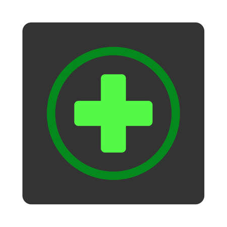 green plus: Rounded Plus vector icon. Style is flat rounded square dark gray button, green symbol, white background.