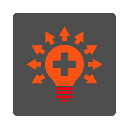 medical distribution: Disinfection Lamp vector icon. Style is flat rounded square gray button with red symbol, white background.