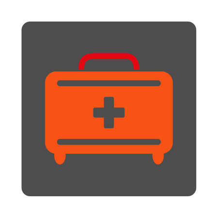 toolkit: First Aid Toolkit vector icon. Style is flat rounded square gray button with red symbol, white background.