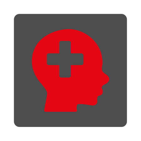 Head Medicine vector icon. Style is flat rounded square gray button with red symbol, white background.