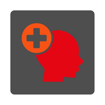 mente humana: Jefe de Tratamiento del icono del vector. El estilo es plana botón gris cuadrado redondeado con el símbolo rojo, fondo blanco. Vectores