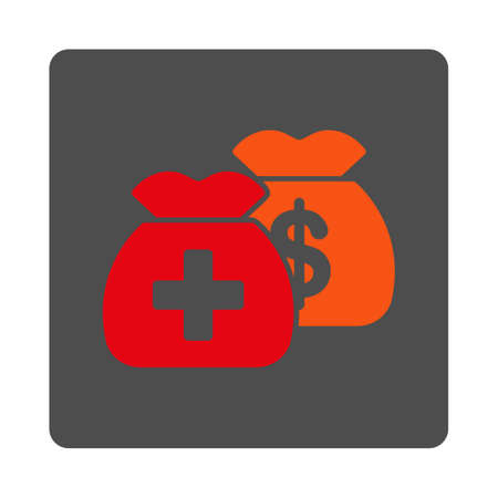 funds: Medicine Funds vector icon. Style is flat rounded square gray button with red symbol, white background. Illustration