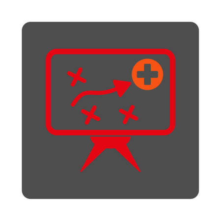 cross street with care: Health Strategy vector icon. Style is flat rounded square gray button with red symbol, white background.