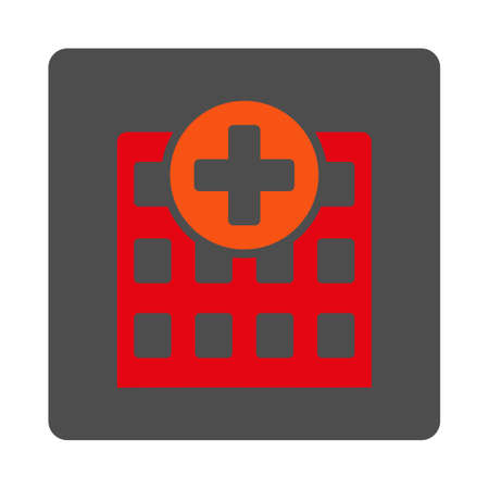 polyclinic: Hospital vector icon. Style is flat rounded square gray button with red symbol, white background. Illustration