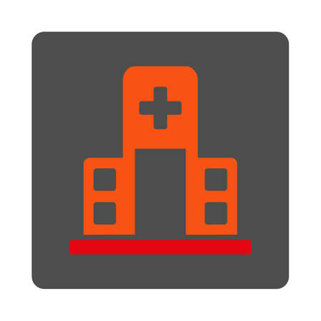 polyclinic: Hospital Building vector icon. Style is flat rounded square gray button with red symbol, white background.