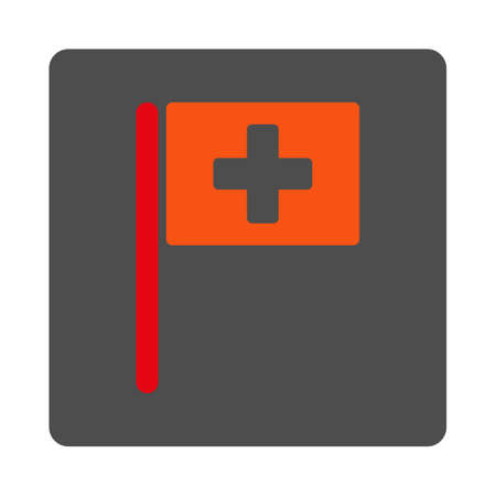 navigation aid: Hospital Flag vector icon. Style is flat rounded square gray button with red symbol, white background. Illustration