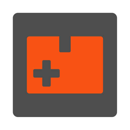 storage data product: Medical Box vector icon. Style is flat rounded square gray button with red symbol, white background. Illustration