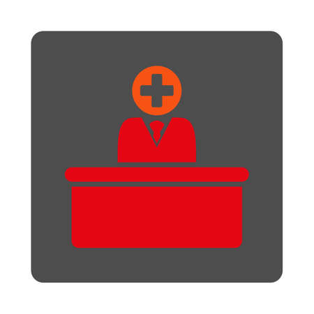 bureaucrat: Medical Bureaucrat vector icon. Style is flat rounded square gray button with red symbol, white background.
