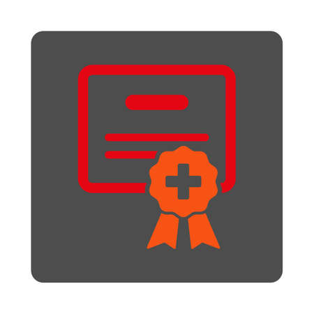Medical Diploma vector icon. Style is flat rounded square gray button with red symbol, white background.