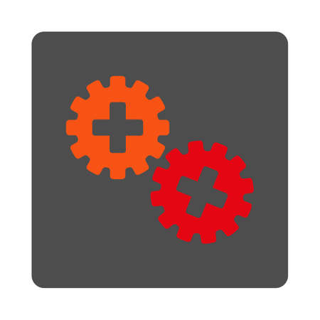 gear box: Medical Gears vector icon. Style is flat rounded square gray button with red symbol, white background. Illustration