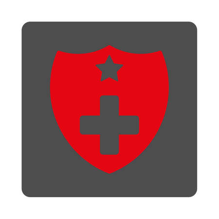 shiled: Medical Insurance vector icon. Style is flat rounded square gray button with red symbol, white background.
