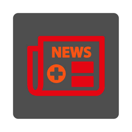 Medical Newspaper vector icon. Style is flat rounded square gray button with red symbol, white background. Illustration