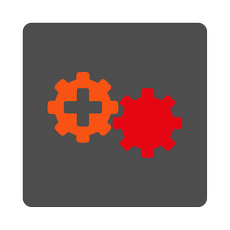 gear box: Medical Process vector icon. Style is flat rounded square gray button with red symbol, white background.