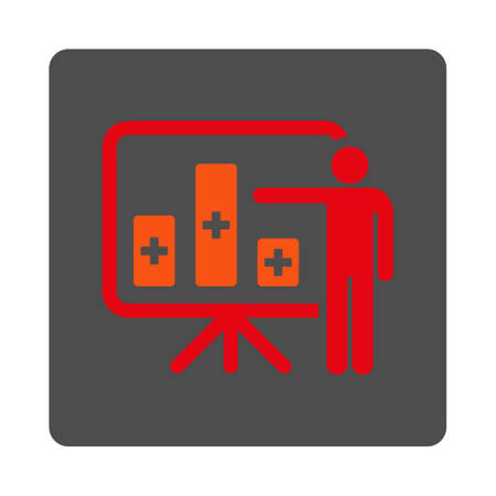 health care analytics: Medical Public Report vector icon. Style is flat rounded square gray button with red symbol, white background.