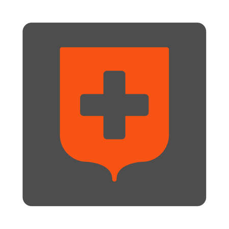 shiled: Medical Shield vector icon. Style is flat rounded square gray button with red symbol, white background. Illustration