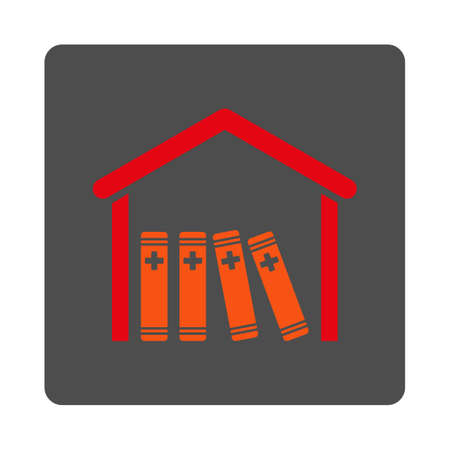 periodicals: Medical Library vector icon. Style is flat rounded square gray button with red symbol, white background. Illustration