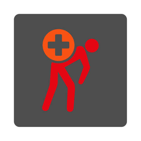 drug user: Medication Courier vector icon. Style is flat rounded square gray button with red symbol, white background. Illustration