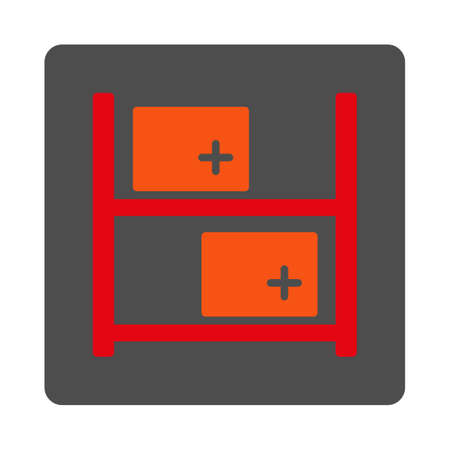 medical distribution: Medical Warehouse vector icon. Style is flat rounded square gray button with red symbol, white background.