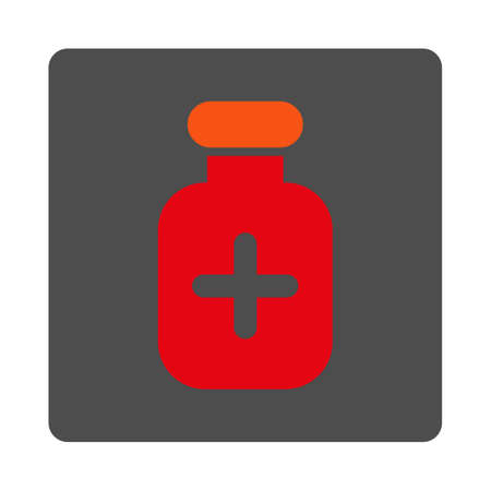 medication: Medication Jar vector icon. Style is flat rounded square gray button with red symbol, white background. Illustration