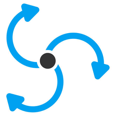 quark: Fan Rotation vector icon. Style is bicolor flat symbol, blue and gray colors, rounded angles, white background. Illustration