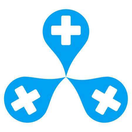polyclinic: Hospital Map Markers vector icon. Style is flat symbol, blue color, rounded angles, white background.