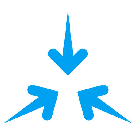 three points: Impact Arrows vector icon. Style is flat symbol, blue color, rounded angles, white background.