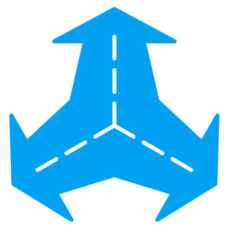 three points: Intersection Directions vector icon. Style is flat symbol, blue color, rounded angles, white background. Illustration