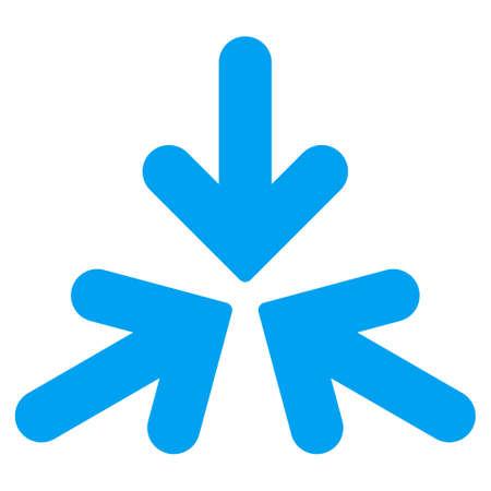 トリプル衝突矢印ベクトル アイコンです。スタイルは、フラット記号、青い色、丸みを帯びた角、白い背景です。  イラスト・ベクター素材