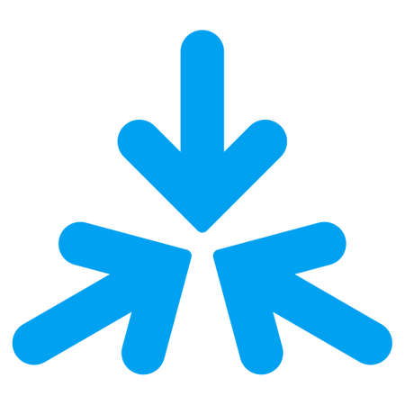 three points: Triple Collide Arrows vector icon. Style is flat symbol, blue color, rounded angles, white background.