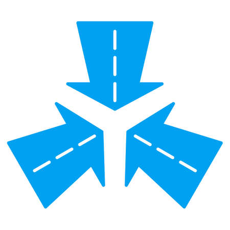 directions icon: Merge Directions vector icon. Style is flat symbol, blue color, rounded angles, white background.
